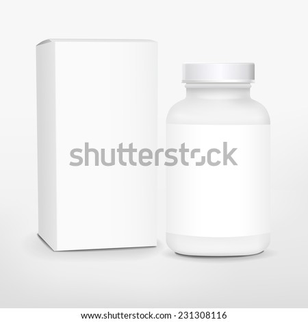 blank medicine bottle and package isolated on white background  - stock vector