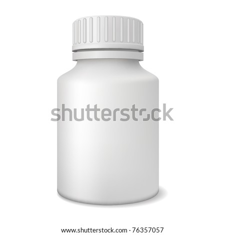 Blank medicine bottle realistic vector illustration. - stock vector