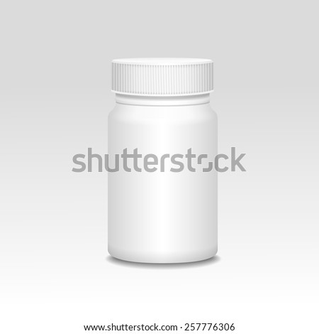 Blank medicine bottle realistic vector illustration on gray.