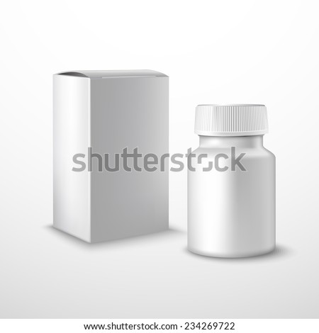 Blank medicine bottle with medical supplements realistic isolated on white background vector illustration - stock vector