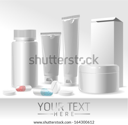 Blank medicine packages of drugs. Vector illustration template.  - stock vector