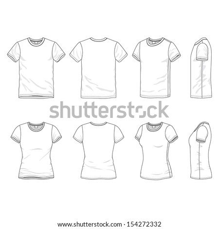 Blank Men's and Women's t-shirt in front, back and side views - stock vector