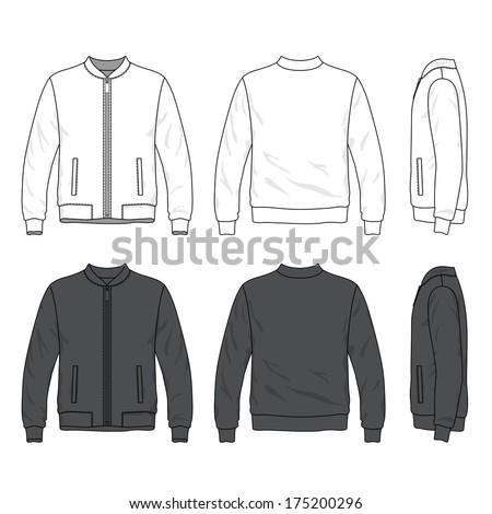 Blank men's bomber jacket with zipper in front, back and side views. Isolated on white. - stock vector