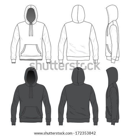 Blank Men's hoodie in front, back and side views - stock vector