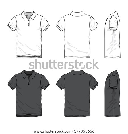 Blank Men's polo t-shirt with zip neck in front - stock vector