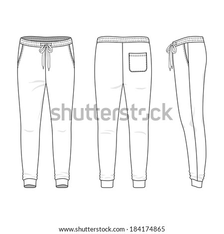 blank mens sweatpants in front back and side views vector illustration isolated on
