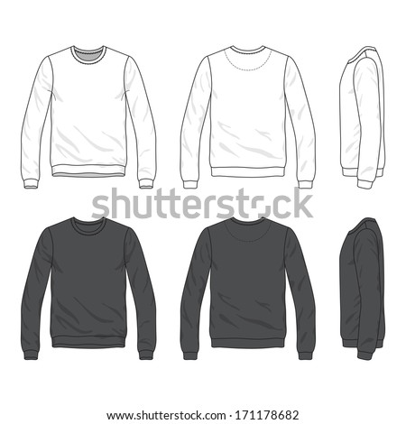 Blank Men's sweatshirt in front, back and side views - stock vector