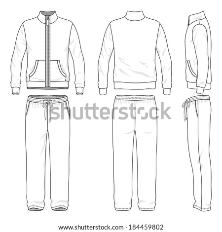 Blank men's track suit in front, back and side views. Vector illustration. Isolated on white. - stock vector