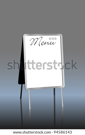 blank menu on sandwich board,free copy space, vector illustration - stock vector