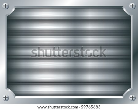 Blank metal plate vector background. - stock vector
