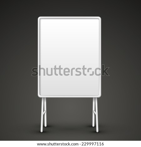 blank metal sandwich board isolated on black - stock vector