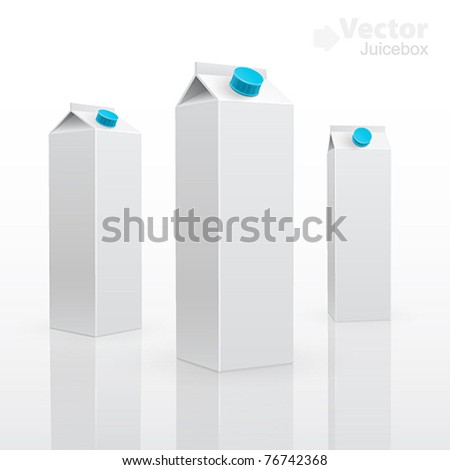 Blank milk or juice pack. 3d vector illuctration