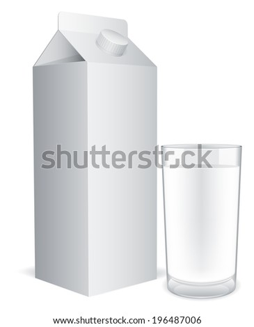 Blank milk pack and glass of milk.