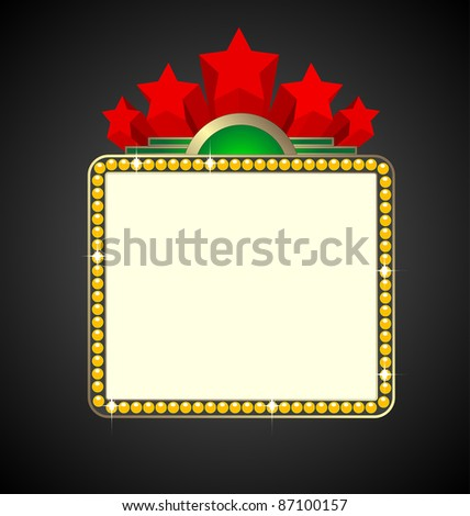 Blank movie or theatre marquee, vector - stock vector