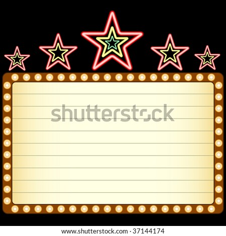 Blank movie, theater or casino marquee with neon stars above isolated on black background. - stock vector