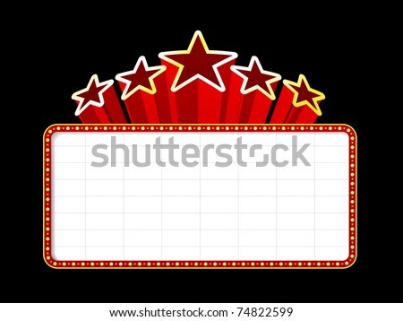 Blank movie, theater or casino marquee with stars isolated on black background - stock vector