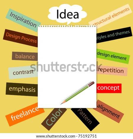 blank note paper and pencil with basic concept word for design - stock vector