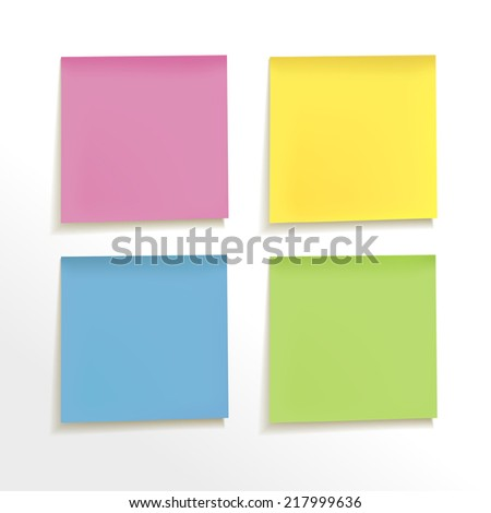 blank note paper set on white background - stock vector