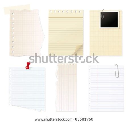 Blank note paper. Vector - stock vector