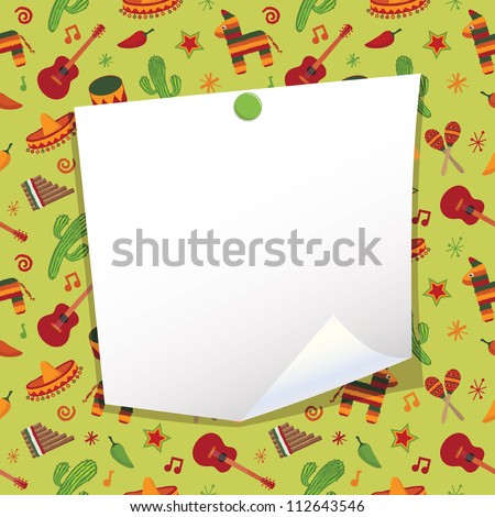 blank note paper with mexican party background - stock vector