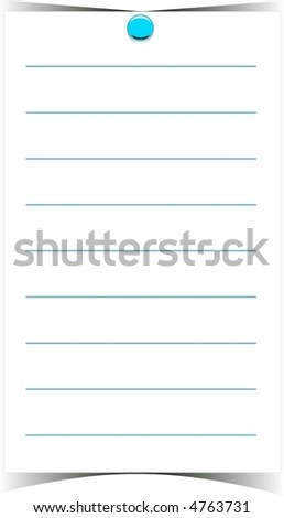 blank note with pin - stock vector