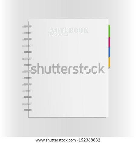 Blank notebook cover on white background - Vector illustration - stock vector