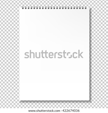 Blank Notebook, Isolated on Transparent Background, With Gradient Mesh, Vector Illustration - stock vector