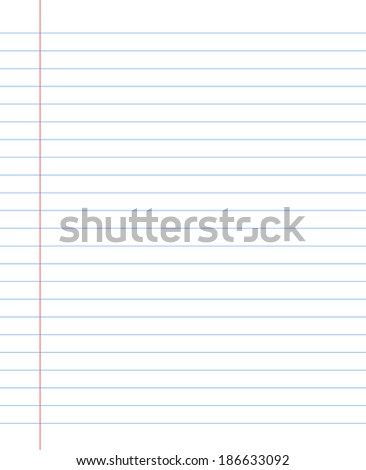 Blank  notebook paper sheet with lines - stock vector