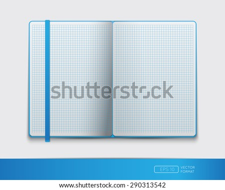 Blank notebook template with bookmark - Vector illustration. - stock vector