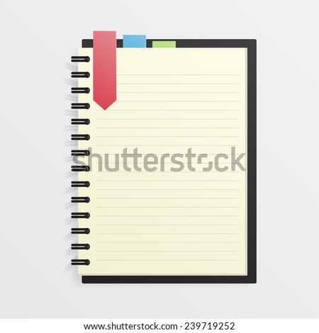 Blank Notebook with Color Bookmark. - stock vector