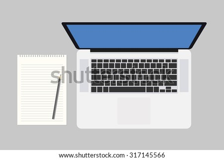 blank notepad and laptop, vector