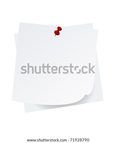 Blank notes with stick pin, eps10 vector - stock vector