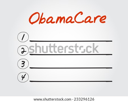 Blank ObamaCare list, vector concept background - stock vector