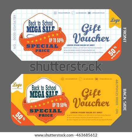Blank Back School Gift Voucher Vector Stock Vector