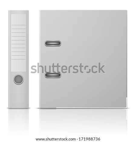Blank office binder with metal rings, standing, back and side view. Vector illustration. EPS10. - stock vector