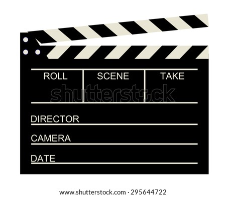 Blank old cinema clapboard . Empty black color movie clapper board with roll, scene, take, director, camera and date box text space. vector art image illustration, isolated on white background, eps10