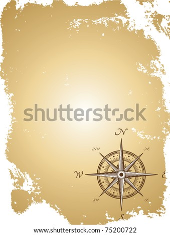Blank old paper map with compass. Vector illustration