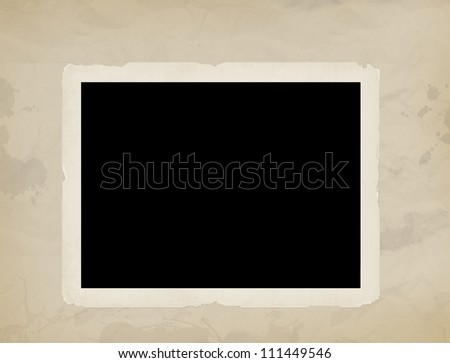 Blank old photo on old aged background paper,vector illustration - stock vector