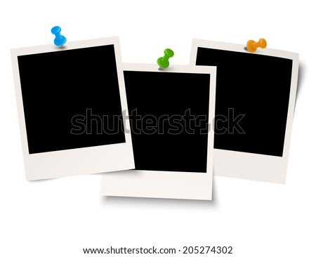 Blank old photos with pin needle - stock vector