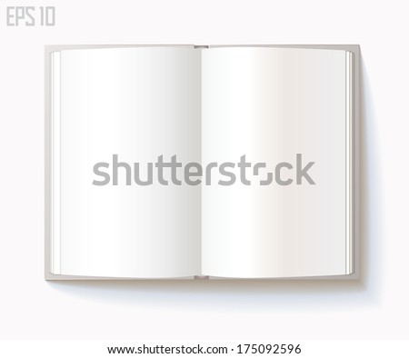Blank open book on white background. Vector illustration. Eps 10 - stock vector