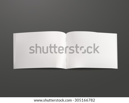 blank open book template isolated on black background