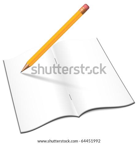 Blank open notebook with pencil, vector - stock vector