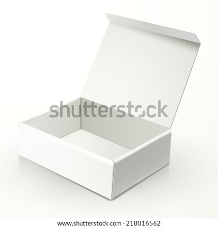 blank open paper box isolated on white - stock vector