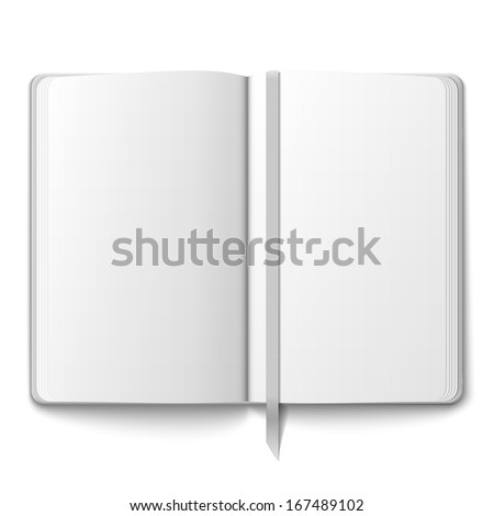 Blank opened copybook template with bookmark. Vector illustration. - stock vector