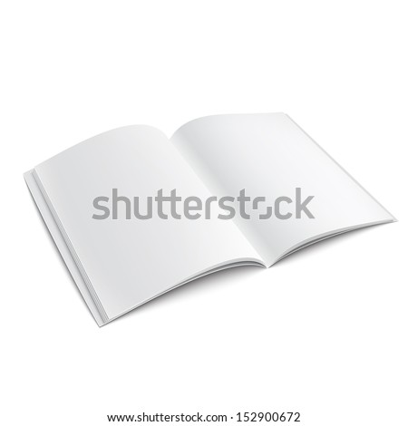 Blank opened magazine cover template on white background with soft shadows. Vector illustration. EPS10. - stock vector