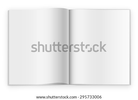 Blank opened magazine or notepad template on white background. Realistic vector - stock vector