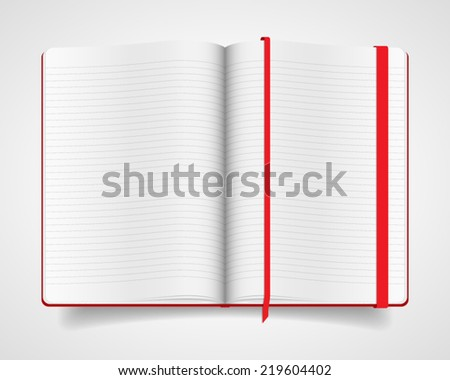 Blank opened notebook with red cover and bookmark isolated on white background. Realistic vector illustration. - stock vector
