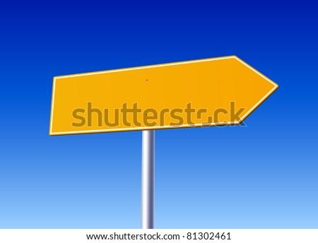 Blank orange arrow road sign - stock vector