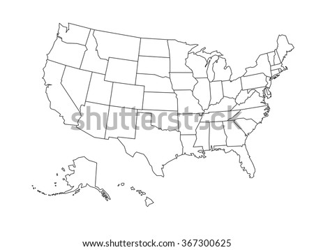 Blank Outline Map USA Stock Vector (Royalty Free) 367300625 ...