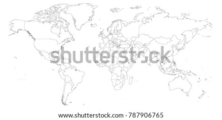 Blank outline map world worksheet geography stock photo photo blank outline map of world worksheet for geography teachers usable as geographical test in school gumiabroncs Choice Image